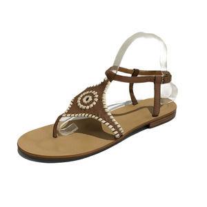 Jack Rogers | Maci Flat Sandals Whipstitch Brown